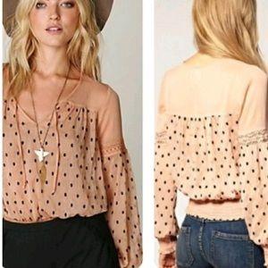 Free people blush polka dot blouse
